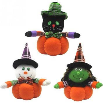 Witch/Black Cat/Ghost Pumpkin Shaped Ornament Plush Stuffed Decoration Doll Ghost Festival Halloween Gift Supplies#735
