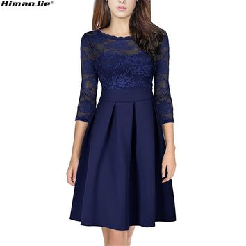 Women Spring New Elegant Lace Patchwork Dress Vintage O-Neck Female 3/4 Sleeve backless high waist hollow out Sexy Party Dresses