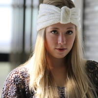 Knitted Turban Headband with knot and Glitter