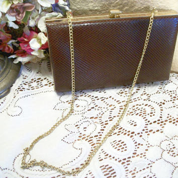 Pocket Book Purse Brown Reptile Pattern Vinyl Convertible Clutch Gold Chain Evening Bag Vintage 1950's Fashion Accessory
