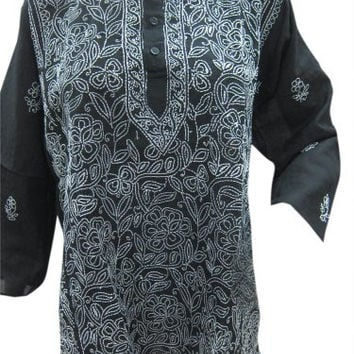 Indian Cotton Floral Embroidered Black Tunic Kurti