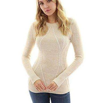 PattyBoutik Women's Cotton Blend Crewneck Cable Knit Sweater