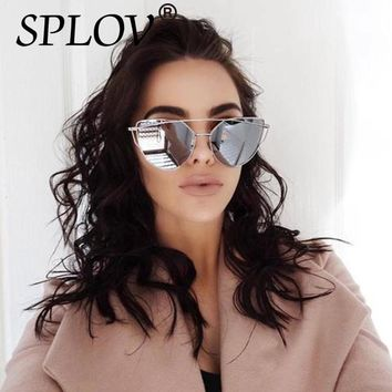 2018 New Cat Eye Aviation Women's Vintage Fashion Rose Gold Mirror Sun Glasses