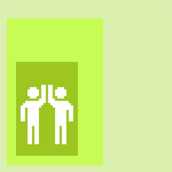 High 5! Minimalist contemporary cross stitch pattern. Modern cross stitch design in beautiful shades of lime green.
