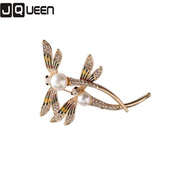 1 Piece Gold Color Wedding Jewelry Elegant Exquisite Double Dragonflies Simulated Pearls Female Pin Broochs For Women