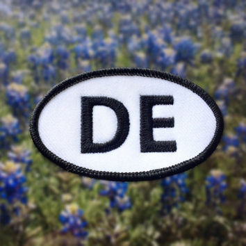 "Delaware DE Patch - Iron or Sew On - 2"" x 3.5"" - Embroidered Oval Appliqué - The First State - Black White Hat Bag Accessory Handmade USA"