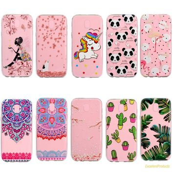 High Quality 3D Fashion girl unicorn cactus Flamingos panda Painted Soft Silica TPU phone case For Samsung J7 2017 J730F cover