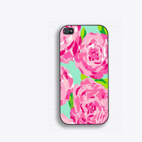Rose Print Phone Case, for iPhone 5, iPhone 5s, iPhone 5c, iPhone 4, iPhone 4s, Galaxy S3, S4 and S5. Inspired by Lilly Pulitzer NM-165