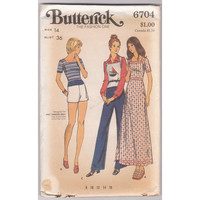 Butterick 6704 70s sewing pattern for misses size 14 knit maxi dress, top/vest, straight leg pants, short shorts UNCUT