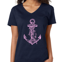 Nautical Anchor with Roses V-Neck Tee