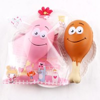 NewColossal 15CM Kawaii Chicken Leg Phone Strap Bread Cake Squishy Jumbo Stress Stretch Scented Squeeze Soft Slow Rising Kid Toy