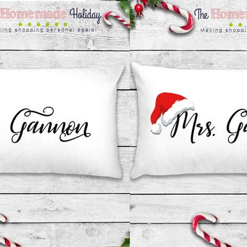Personalized Title and Name Santa Hat Pillowcases