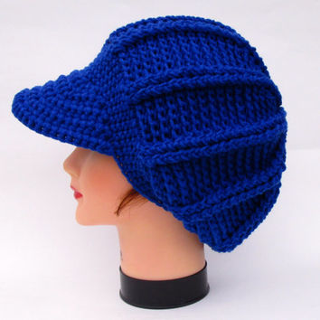 Royal Blue Cap - Women's Newsboy Hat - Brimmed Beanie - Slouchy Visor Tam - Crocheted Hat With Brim - Crochet Accessories - Warm Headwear