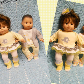 """American Girl BITTY TWINS clothes Bitty Baby clothes """"Pair of Pachyderms"""" (15 inch) Boy and Girl Twins Set elephants yellow and gray"""