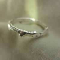 Budding grass sterling stacking ring Made to Order