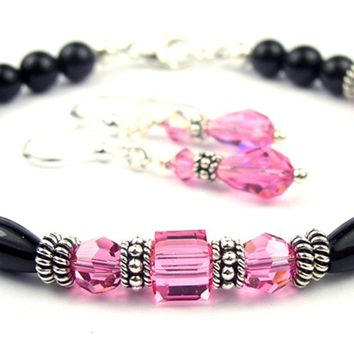 Black Onyx Bracelet and Earrings SET w/ Simulated  Pink Tourmaline in Swarovski Crystal Birthstone Colors