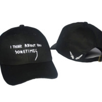 Black Letters Embroidered Baseball Cap Hat