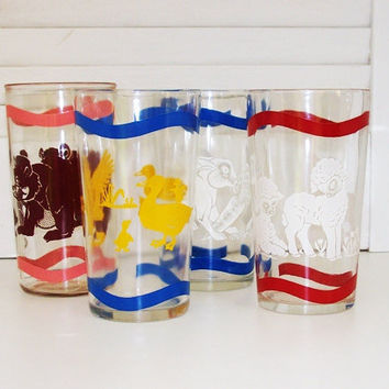 Vintage Glasses 1950s Jelly Jar Tumblers Animal by 4oldtimesandnew