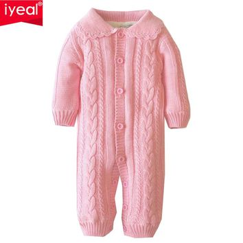 IYEAL Baby Autumn Romper Newborn Baby Girl Long Sleeve Cotton Knitted Sweater Jumpsuit Infant Kid Baby Clothes Christmas Gift