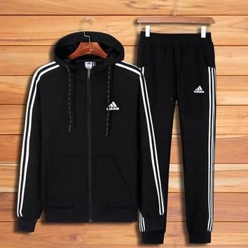 Adidas Fashion Women Men Casual Embroidery Hoodie Top Sweater Pants Trousers Set Two-piece Sportswear I12969-1