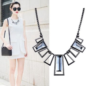 Geometric necklace Mosaic rhinestones fashion jewelry resin maxi ships free in 3-4 weeks