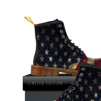 American Flag Boots Mens Canvas Aged