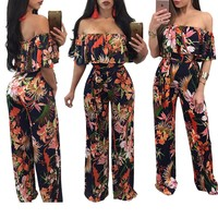 Enteritos Mujer Time-limited Plus Size Jumpsuits And Rompers For Women The New 2017 Led A Word Printed Strapless Jumpsuits