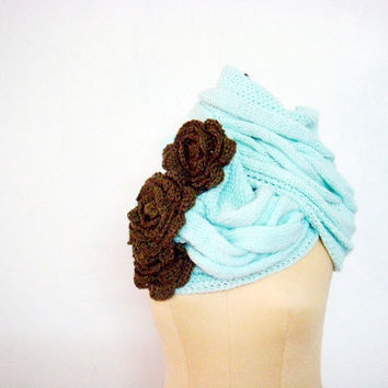 PDF PATTERN Knit Cable Loop Scarf Cowl Crochet Flowers 218-A