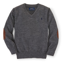 SUEDE-PATCH MERINO SWEATER