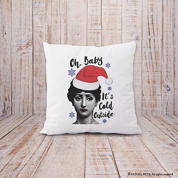 Oh baby it's cold outside pillow cover-Christmas pillow-christmas cushion cover-winter pillow-holiday pillow-home decor-NATURA PICTA-NPCP077