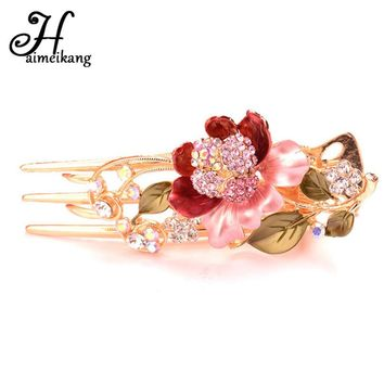 Haimeikang Fashion Colorful Crystal Lily Flower 3 Tooth Hair Combs Clip for Women Rhinestone Lotus Hair Stick Hair Accessories