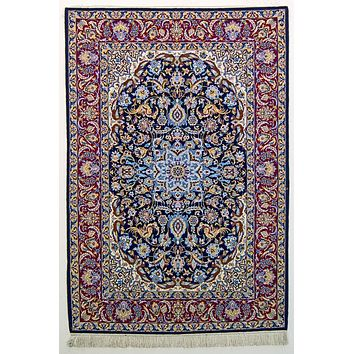Oriental Isfahan High Elegance Wool and Silk Persian Rug, Blue/Red