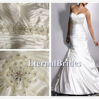Charmeuse Pleated Sweetheart Neckline under bust with crystal beads Adorae Mermaid Wedding Dress with balloon hem