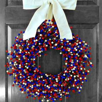 Patriotic Wreath, Summer Wreath, 4th of July Wreath, Memorial Day Wreath, Berry Wreath, Americana Decor, Door Decoration, Door Wreathe