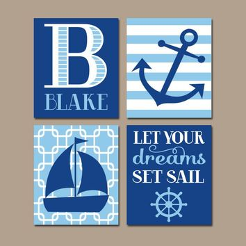 COASTAL Nursery Wall Art, CANVAS or Prints, Baby Boy Nursery Decor, Blue Bedroom Decor, Sailboat Anchor, Nautical Theme, Set of 4 Sail Quote