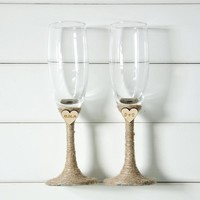 Rustic Wedding Champagne Toasting Flutes