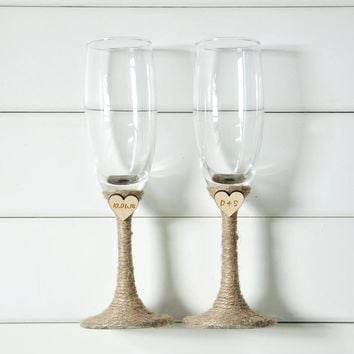 Rustic Wedding glass flute