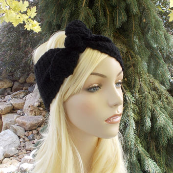 Black Bow Knot Crochet Headband