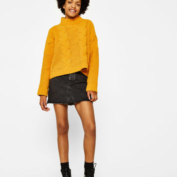 Cropped high neck sweater - Knitwear - Bershka United States