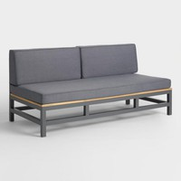 Gray Wood and Metal Alicante Outdoor Occasional Bench