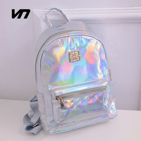 2016 Summer New Fashion Hologram Laser Backpack Female Student PU Leisure Travel Backpack Casual Multicolor Bag For School Girls