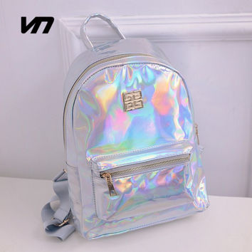 Summer New Fashion Hologram Laser Backpack Female Student PU Leisure Travel Backpack Casual Multicolor Bag For School Girls