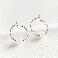 Pearl Stone Hoop Earring | Urban Outfitters