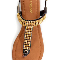 Bamboo Promise 03 Black and Gold Beaded Thong Sandals