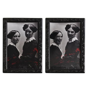1pc  Horrible Decorative Painting Frame Halloween Props Lenticular 3D Changing Face Horror Portrait Haunted Spooky Decorations