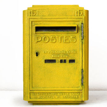 Original  French La Poste 1956 Cast iron POST Box  MAILBOX Mid century Model Loft deco