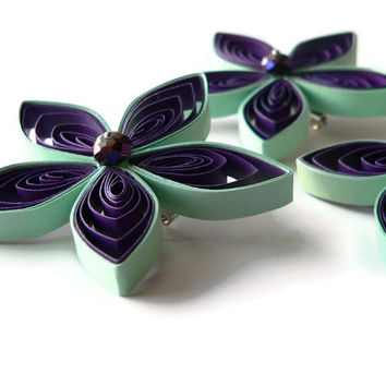 Purple and Mint Boutonnieres for Wedding, Bespoke Buttonholes, Mint and Purple Boutonniere, Different Buttonhole
