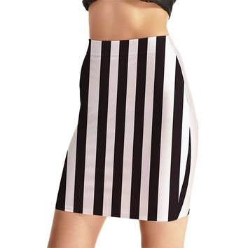 Stripe Design Women Sexy High Waist Skirts Tennis Bowling Skirts Slim Hip Black White Elastic Sport Female Girls Party Apparel