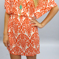 Sandra Geometric Tunic Dress: Coral