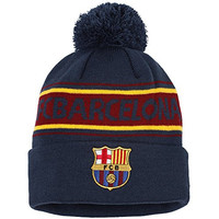 Official Football/Soccer Merch Adults FC Barcelona Text Winter Beanie Hat (One Size) (Navy/ Burgundy)